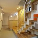 『虹のある家』虹色の階段が家族をつなぐ住まいの写真 階段より玄関方向を見る