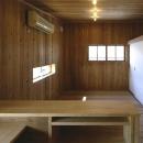 『der nostalgisch Bahnhof 』懐かしい駅舎のような住まいの写真 木に囲まれた2階寝室