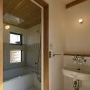 『der nostalgisch Bahnhof 』懐かしい駅舎のような住まいの写真 タイル張りの明るい浴室