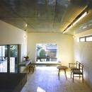『subako』重厚感のあるコンクリート住宅の写真 大きな窓のある明るいリビング