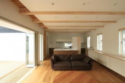『囲みの家』プライバー・開放性を兼ね備えた住まい (風通しのよい開放的なLDK-2)