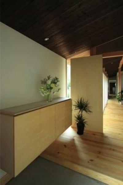 『黒天井の家』焼き杉を使用した落ち着きのある住まい (黒天井の玄関)