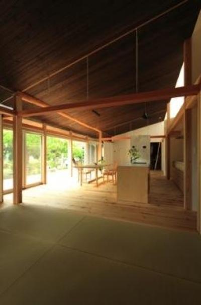 『黒天井の家』焼き杉を使用した落ち着きのある住まい (畳スペース・LDK)