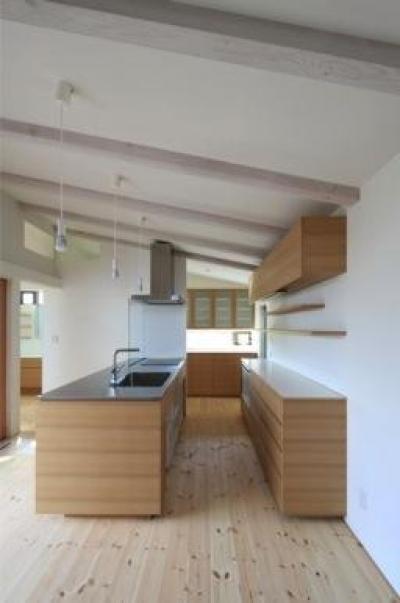 洗練されたナチュラルキッチン (『双方流れの家』2つの片流れ屋根が表情をつくりだす住まい)