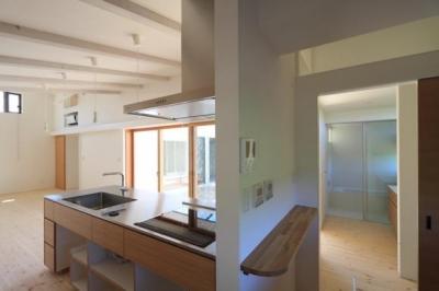 『双方流れの家』2つの片流れ屋根が表情をつくりだす住まい (回遊性のある家事スペース)