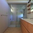 『双方流れの家』2つの片流れ屋根が表情をつくりだす住まいの写真 洗面・ガラス張りの浴室