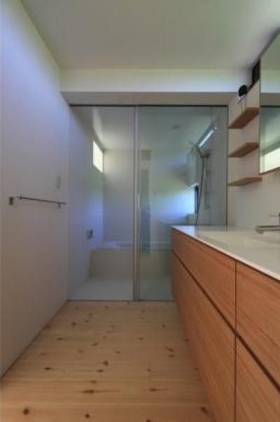 『双方流れの家』2つの片流れ屋根が表情をつくりだす住まい (洗面・ガラス張りの浴室)