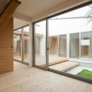 『双方流れの家』2つの片流れ屋根が表情をつくりだす住まいの写真 中庭を眺められる寝室