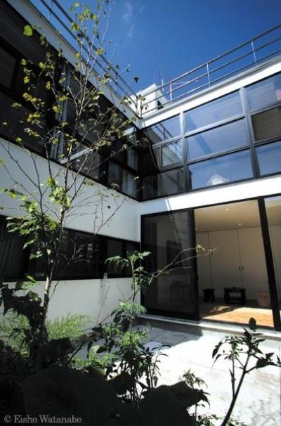 オープンエアの中庭 (『I・M邸』光を共有する二世帯住宅)