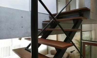 『I・K邸』コンパクト&機能満載の住まい (スケルトン階段)
