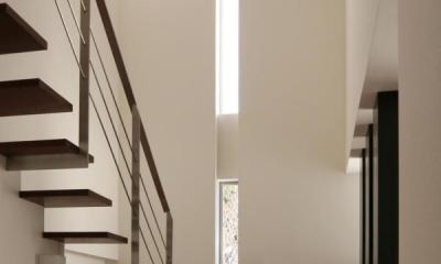 『公園を臨む家』公園を借景とする明るい住まい (スリット窓からの光が広がる吹き抜け階段)