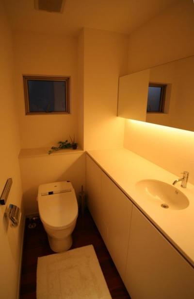 落ち着くトイレ空間 (『公園を臨む家』公園を借景とする明るい住まい)