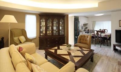 『M邸』4LDKから2世帯住宅へリノベーション (親世帯-アンティークインテリアのLDK)