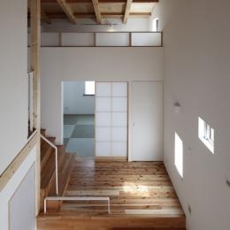 みどりのK邸 (書斎からホールの眺め)