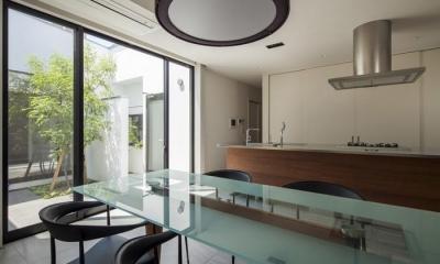 『高松の家』中庭を囲む平屋住宅 (中庭に面する明るいダイニングキッチン)