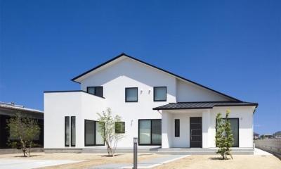 『松前町の家』おおらかな葺き下ろし屋根の家