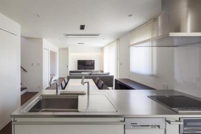 『松前町の家』おおらかな葺き下ろし屋根の家 (明るいLDK)