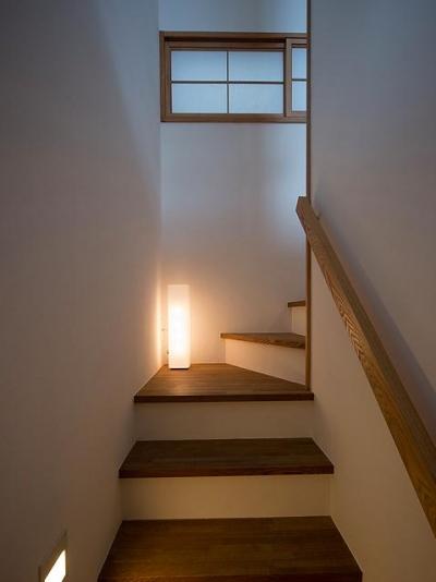『higashitakamatsu』木の温もり感じるモダンな住まい (シンプルな階段室)