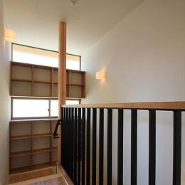 『souya』落ち着きのある和モダンな住まい (階段踊り場の収納棚)