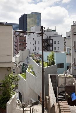 『外神田の家』コンクリート打ち放しのクールな住まい (屋上庭園のある家外観)