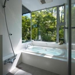『軽井沢の別荘 K邸』憩いのセカンドハウス (緑を感じる開放的な浴室)
