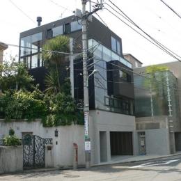『大谷HOUSE』都心で緑を感じられる住まい (ガラス張りの外観-1)
