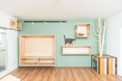 猫たちが自由気ままに過ごせるリビング (『埼玉県羽生市K邸』猫のための楽園♪賃貸リノベーション)