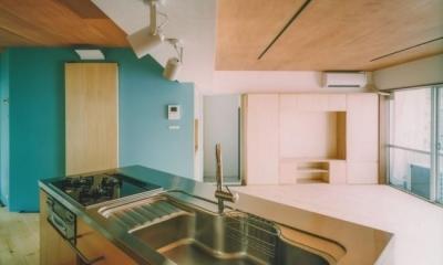 リビングを見渡せるアイランドキッチン|中庭を望むダイニングのあるビンテージマンションリノベ:『桜台ビレジリノベーションvol.2』(横浜市青葉区)