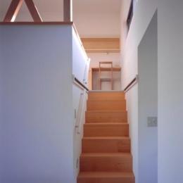 『囲む家』様々な表情のある、楽しく温かな住まい (ロフト寝室への階段)