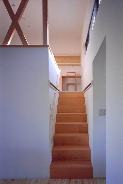『囲む家』様々な表情のある、楽しく温かな住まいの写真 ロフト寝室への階段