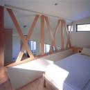 開放的なロフト寝室