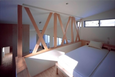 開放的なロフト寝室 (『囲む家』様々な表情のある、楽しく温かな住まい)