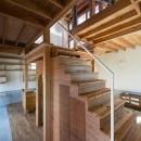 『MORI』木の温もり感じる絵本の中の家の写真 階段-階段下はトイレ