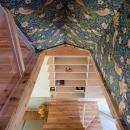 『MORI』木の温もり感じる絵本の中の家の写真 アクセントクロスを使用した階段室