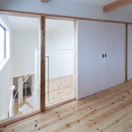 『金石の家』プライバシーを守りながら開放的に暮らす家 (ガラス張りの窓と白い引き戸の洋室)