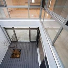 『杉浦町の家』中庭のあるシンプルな住まい (中庭を見下ろす)