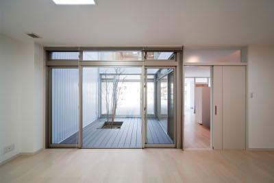 『杉浦町の家』中庭のあるシンプルな住まいの部屋 室内より中庭を見る