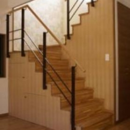 『クライミングウォールのある住宅』太陽と風と共に暮らす家 (リビングに面した階段)