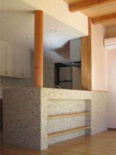 モザイクタイルのオープンカウンター (『クライミングウォールのある住宅』太陽と風と共に暮らす家)