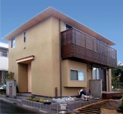 『谷保の家』木と漆喰の家 (落ち着きのある左官壁の外観)