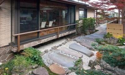 『OK-house』アメリカンブラックチェリーの家 (外観・和風庭園)