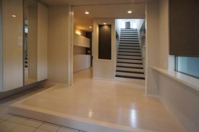~開放感あふれる暮らしを楽しむ『回遊する眺望リビングの家』 (玄関)