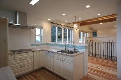~家族の触れ合いを楽しむ『庭と大らかに繋がる2階リビングの家』 (キッチン)