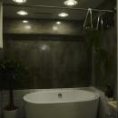 置き型バスタブのあるクールな浴室-1