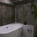 置き型バスタブのあるクールな浴室-2