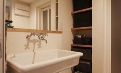アンティーク&グリーン (大きな鏡の洗面所)