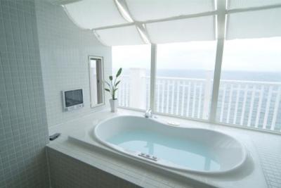 海が見えるバスルーム (『Akiya House』海沿いの家)