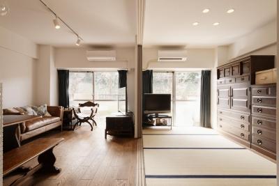 リビング-フラットな広々空間 (K邸・最大限の空間を確保した上質なインテリア)