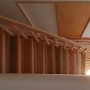 一直線の木製階段