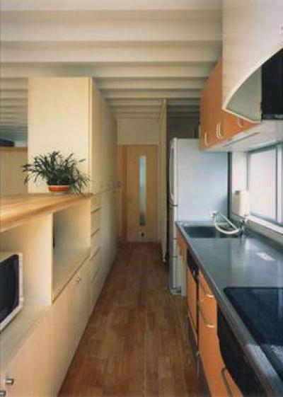 リビングと緩やかにつながるキッチン (『スチールエコハウス#1』高性能住宅)